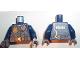 Part No: 973pb2877c01  Name: Torso Police Jacket with Dark Bluish Gray Vest, Gold Badge, Radio and 'POLICE' Pattern on Back / Dark Blue Arms / Dark Bluish Gray Hands