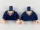 Part No: 973pb3255c01  Name: Torso Female Low-Cut Top, Light Flesh Neck, Shiny Pink Triangle Pattern / Dark Blue Arms / Light Flesh Hands