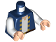 Part No: 973pb3431c01  Name: Torso Pixelated Blue Jacket with Yellow Trim over White Shirt and Black Belt with Buckle Pattern / White Arms / Light Flesh Hands