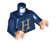 Part No: 973pb3665c01  Name: Torso Sweater with Letter 'H' Pattern / Dark Blue Arms / Light Nougat Hands