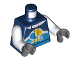 Part No: 973pb3758c01  Name: Torso Jacket with Dark Azure Belt, White Collar and Stripe, 'Octan E' Logo on Front, '29' on Back Pattern / White Arms / Dark Bluish Gray Hands