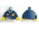 Part No: 973pb3772c01  Name: Torso Police Suit with Tie and Pockets, Gold Star Badge and Buttons, Light Blue Undershirt Pattern / Dark Blue Arms / Yellow Hands