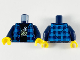 Part No: 973pb3774c01  Name: Torso Dark Azure Flannel, Black T-Shirt with White and Tan Banana Pattern / Dark Blue Arms / Yellow Hands