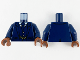 Part No: 973pb3818c01  Name: Torso Suit Jacket Unbuttoned, Vest, Tie and Gold Chain Pattern / Dark Blue Arms / Reddish Brown Hands