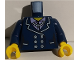 Part No: 973pb3853c01  Name: Torso Suit with White Buttons and Necklace Pattern / Dark Blue Arms / Yellow Hands