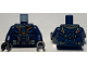 Part No: 973pb3915c01  Name: Torso Armor, Silver, Orange and Blue Highlights and Dark Bluish Gray Pockets Pattern / Dark Blue Arms / Black Hands