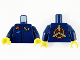 Part No: 973pb4139c01  Name: Torso Jumpsuit, Reddish Brown Namebadge with Gold 'JP', Gold Wings Badge and Blue Patch Pattern / Dark Blue Arms / Yellow Hands