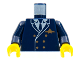 Part No: 973px189c02  Name: Torso Airplane Pilot, Suit Double Breasted, Tie, Gold Buttons and Logo Pin Pattern / Dark Blue Arms / Yellow Hands
