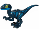 Part No: Raptor12  Name: Dinosaur, Raptor / Velociraptor with Blue Markings and Lime Eye Patch