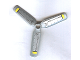 Part No: 30332pb001  Name: Propeller 3 Blade 9 Diameter with Yellow Tips and Black Rods Pattern (Stickers) - Sets 8631 / 8637