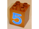 Part No: 31110pb025  Name: Duplo, Brick 2 x 2 x 2 with Number 5 Blue Pattern