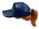 Part No: 35660pb02  Name: Minifigure, Hair Combo, Hair with Hat, Ponytail with Dark Blue Ball Cap Pattern
