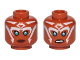 Part No: 3626cpb1646  Name: Minifigure, Head Dual Sided Alien with SW Ahsoka Blue Eyes and White Lines Neutral / Angry Pattern - Hollow Stud