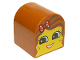 Part No: 3664pb21  Name: Duplo, Brick 2 x 2 x 2 Curved Top with Girl Face, Red Lips, Open Smile, Freckles, Dark Orange Hair with Polka Dot Bow Pattern