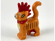 Part No: 39742pb01  Name: Cat, Standing with Dark Red Spiky Mohawk and Collar, Bandages and Dark Brown Stripes Pattern (Scarfield)