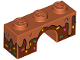 Part No: 4490pb06  Name: Arch 1 x 3 with Frosting Dripping over Dark Brown Icing with Sprinkles Pattern