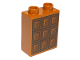 Part No: 76371pb226  Name: Duplo, Brick 1 x 2 x 2 with Bottom Tube with Chocolate Bar Pattern