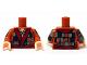 Part No: 973pb2076c01  Name: Torso LotR Patchwork Coat with Dark Red Sash Pattern / Dark Orange Arms with Patchwork / Light Flesh Hands