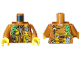 Part No: 973pb2756c01  Name: Torso Jacket with Bright Light Orange Pouches, Silver Radio and Bright Green Rope Pattern / Dark Orange Arms / Yellow Hands
