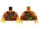 Part No: 973pb2757c01  Name: Torso Jacket with Orange Belts, Green Strap and Bottle on Back Pattern / Dark Orange Arms / Yellow Hands