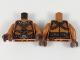 Part No: 973pb3108c01  Name: Torso Female, Gold Necklace and Lion Head Belt Buckle, Reddish Brown Belt and Trim Pattern / Dark Orange Arms / Reddish Brown Hands
