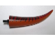Part No: 98159c01pb01  Name: Dino Tail Tyrannosaurus rex with Pin, Dark Red Top and Dark Brown Stripes Pattern