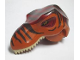 Part No: 98161c01pb01  Name: Dino Head Tyrannosaurus rex with Pin, Tan Teeth, Dark Red Top and Dark Brown Stripes Pattern