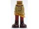 Part No: 20377c00pb08  Name: Mini Doll Friends Hips and Asymmetric Layered Skirt, Gold Ruffle, Dark Red Legs Pattern