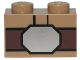 Part No: 3004pb177  Name: Brick 1 x 2 with Dark Brown Belt and Silver Buckle Pattern (SW Luke Skywalker)