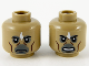 Part No: 3626cpb2627  Name: Minifigure, Head Dual Sided Alien White Diamond, Cheek Lines, Neutral / Angry Pattern - Hollow Stud