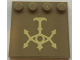 Part No: 6179pb148  Name: Tile, Modified 4 x 4 with Studs on Edge with Tan Hutt Space Symbol Pattern (Sticker) - Set 75024
