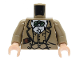 Part No: 973pb0132c01  Name: Torso Indiana Jones Waistcoat, Jacket, Green Bow Tie & Diary Pattern / Dark Tan Arms / Light Nougat Hands