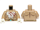 Part No: 973pb1297c01  Name: Torso Bare Chest with Muscles Outline, Dark Red Scars, Brown and Gold Belt with Dark Azure Round Jewel (Chi) Pattern / Dark Tan Arms / White Hands