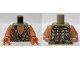 Part No: 973pb1541c01  Name: Torso LotR Vest with Woven Tan and Dark Tan Fabric and Dark Brown Laces Pattern / Flesh Arms / Flesh Hands