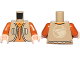 Part No: 973pb1713c01  Name: Torso Vest with Vertical Pockets, Dark Orange Undershirt and Bird Logo on Back Pattern (SW Ezra Bridger) / Dark Orange Arms / Light Nougat Hands