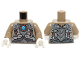 Part No: 973pb1718c01  Name: Torso Light Bluish Gray Scaled Armor, Copper Key Pendants and Blue Round Jewel (Chi) Pattern / Dark Tan Arms / White Hands