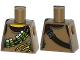 Part No: 973pb1776  Name: Torso Torn Tank Top with Ammunition Belt over Dark Brown Shirt Pattern