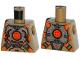 Part No: 973pb1920  Name: Torso Silver Body Armor with Orange Straps Pattern