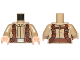 Part No: 973pb2146c01  Name: Torso SW Mandarin Collar, Reddish Brown Utility Belts Pattern (SW Resistance Soldier) / Dark Tan Arms / Light Nougat Hands