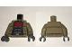 Part No: 973pb2407c01  Name: Torso Batman Jacket over Dark Gray Armor, Red Large Bat Logo Pattern / Dark Tan Arms / Dark Bluish Gray Hands