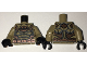 Part No: 973pb2523c01  Name: Torso Desert Batman Suit with Muscles Outline, Bat Logo and Copper Armor and Belt Pattern / Dark Tan Arms / Black Hands