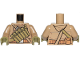 Part No: 973pb3125c01  Name: Torso SW Hoodie Jacket with Central Olive Green Pockets on Shoulder Strap Pattern (Resistance Trooper) / Dark Tan Arms / Olive Green Hands