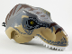 Part No: 98161c06pb01  Name: Dino Head Tyrannosaurus rex with Pin, White Teeth, Dark Bluish Gray Top and Dark Brown Stripes Pattern
