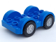 Part No: 13305c01  Name: Duplo Car Base 2 x 6 with Four Black Tires and Flat Silver Wheels on Removable Axles