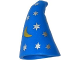 Part No: 17349pb01  Name: Minifigure, Headgear Hat, Cone Drooping, Wizard with Silver Stars and Gold Moon Pattern