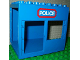Part No: 2210pb01  Name: Duplo Building 6 x 8 x 6 Drive Through with Door and Window Openings with 'POLICE' Pattern