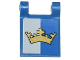 Part No: 2335pb109  Name: Flag 2 x 2 Square with Gold Crown on Blue and White Background Pattern (Sticker) - Set 70806