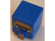 Part No: 23766pb007  Name: Blue Minifigure, Head Modified Cube Tall with Raised Rectangle, Blue Eyes and Pearl Gold Nose Pattern