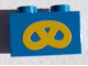 Part No: 3004pb026  Name: Brick 1 x 2 with Yellow Pretzel Pattern (Sticker)