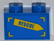 Part No: 3004pb113L  Name: Brick 1 x 2 with 'RESCUE' on Yellow Arrow Pattern Model Left Side (Sticker) - Set 4439